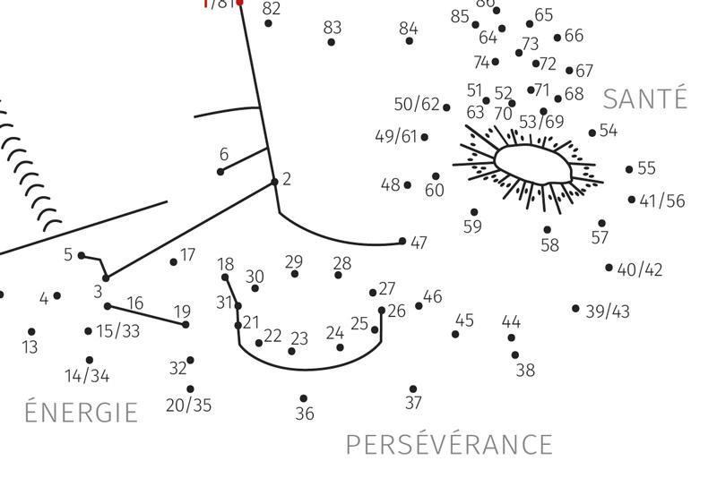 Carte-jeu avec un système de points numérotés à relier pour découvrir l'image