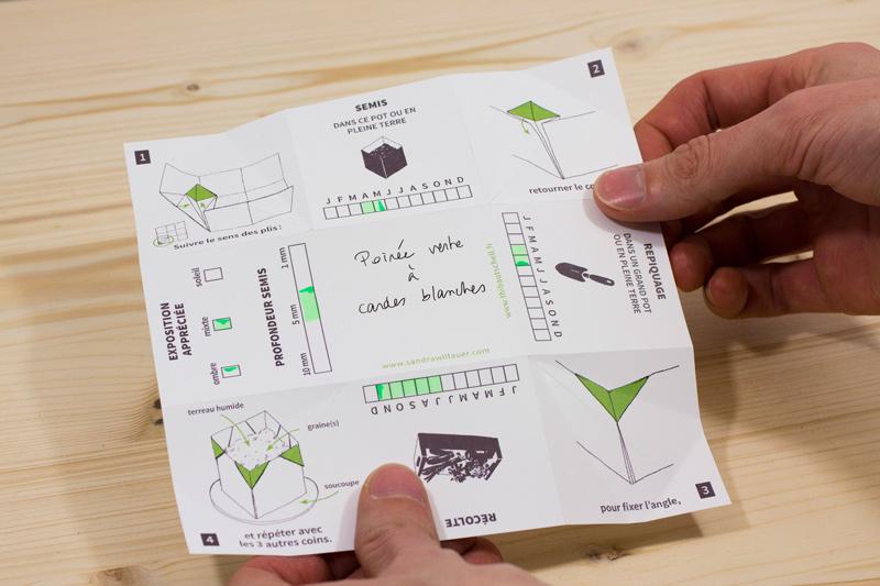 Présentation de la carte de vœux à plier. La carte comprend des plis pré-marqués et des schémas de pliage.