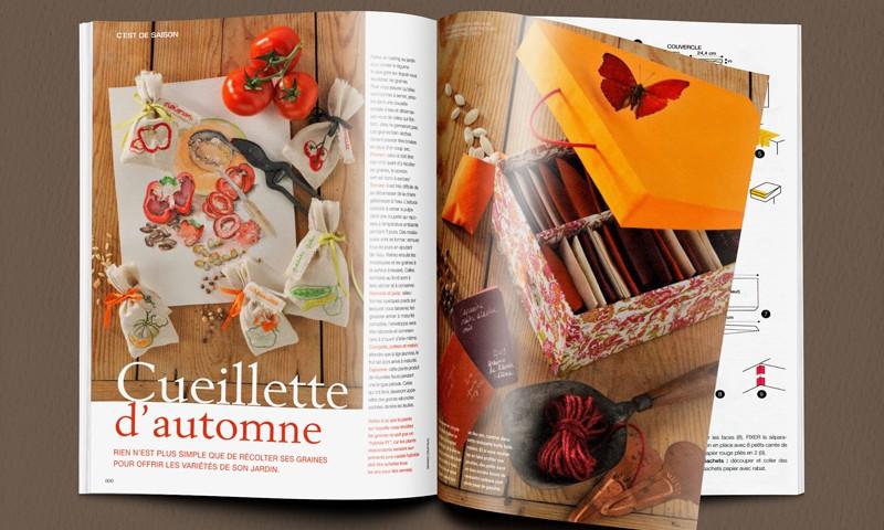 """Double page """"cueillette d'automne"""" publiée dans Marie Claire idées n°86."""