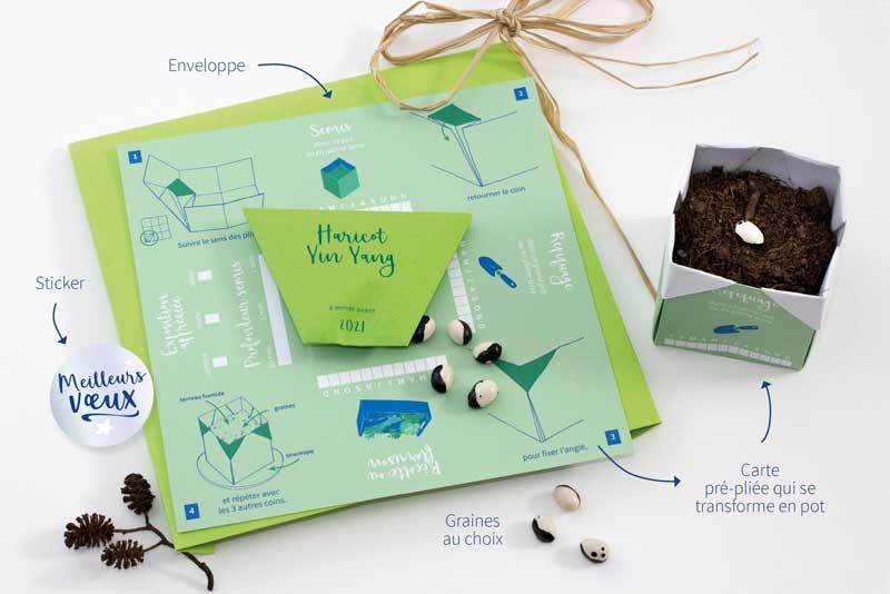 Présentation de la carte de voeux à semer : sachet de graines, enveloppe, sticker