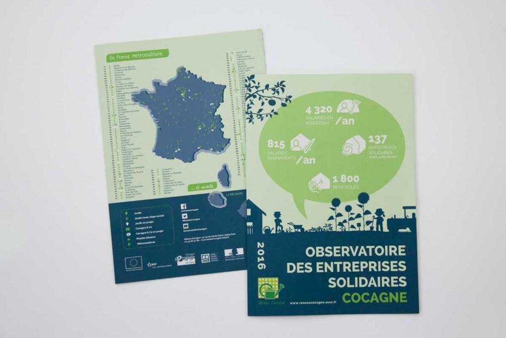 """Première et dernière page de la plaquette de communication """"Observatoire des entreprises solidaires"""" du Réseau Cocagne."""