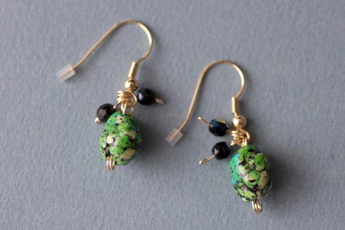 Boucles d'oreilles Petits cailloux - version verte