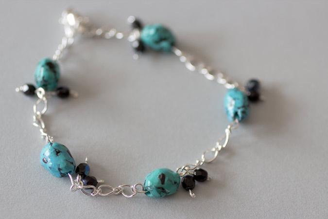 Bracelet Petits cailloux - version turquoise