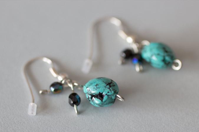 Boucles d'oreilles Petits cailloux - version turquoise