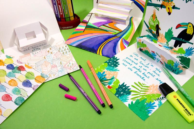 éventail de pop-up dessinés : ballons, ville, route multicolore, jungle...