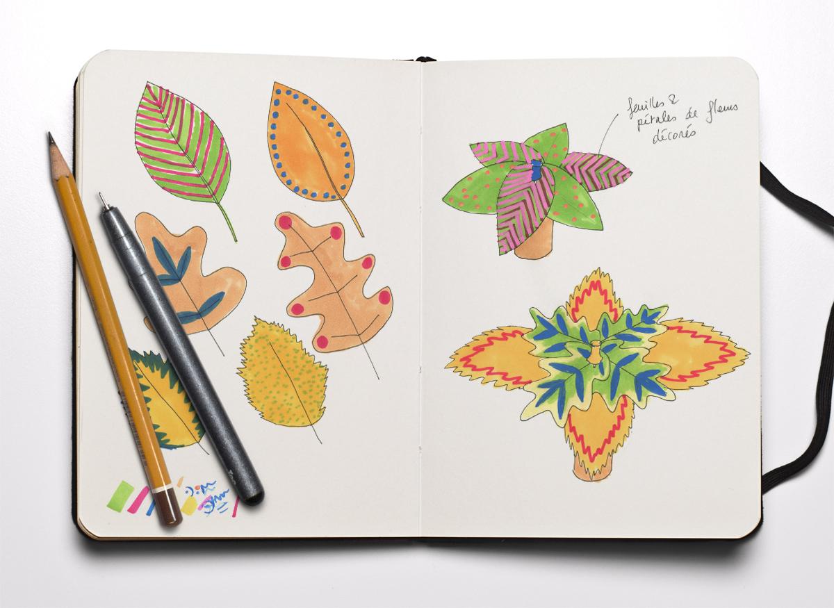 Carnet ouvert, avec des esquisses colorées de feuilles peintes.