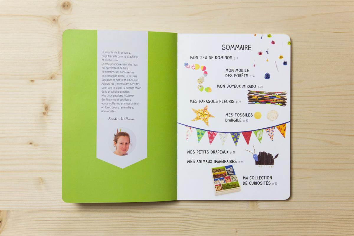 """Double page """"sommaire"""" du livre l'Atelier nature, et présentation de l'auteur."""