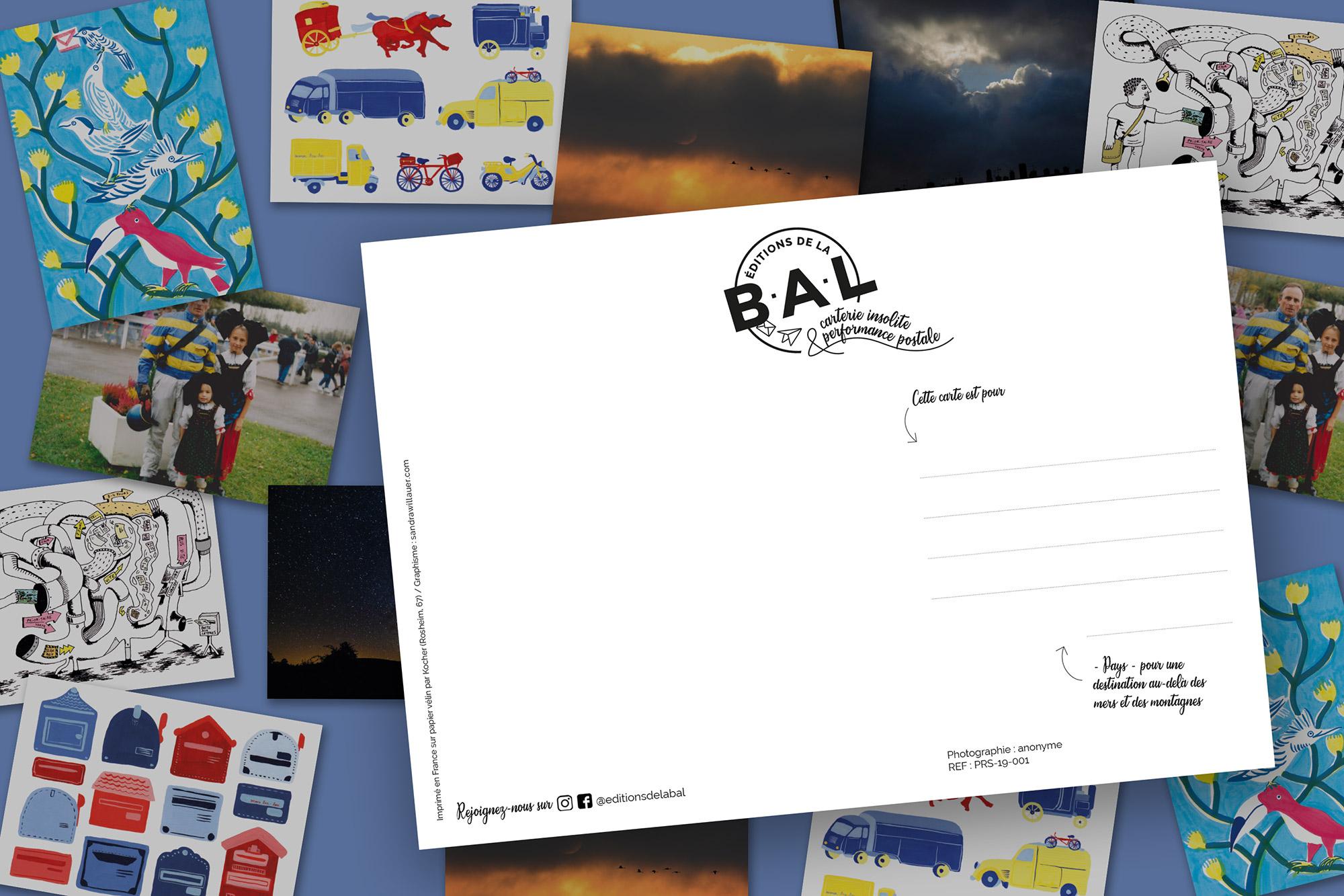 Présentation de la maquette verso des cartes postales des éditions de la BAL