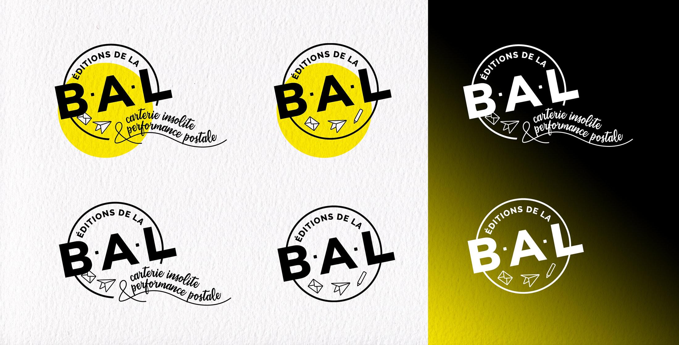 Présentation des différentes déclinaisons du logotype des éditions de la BAL