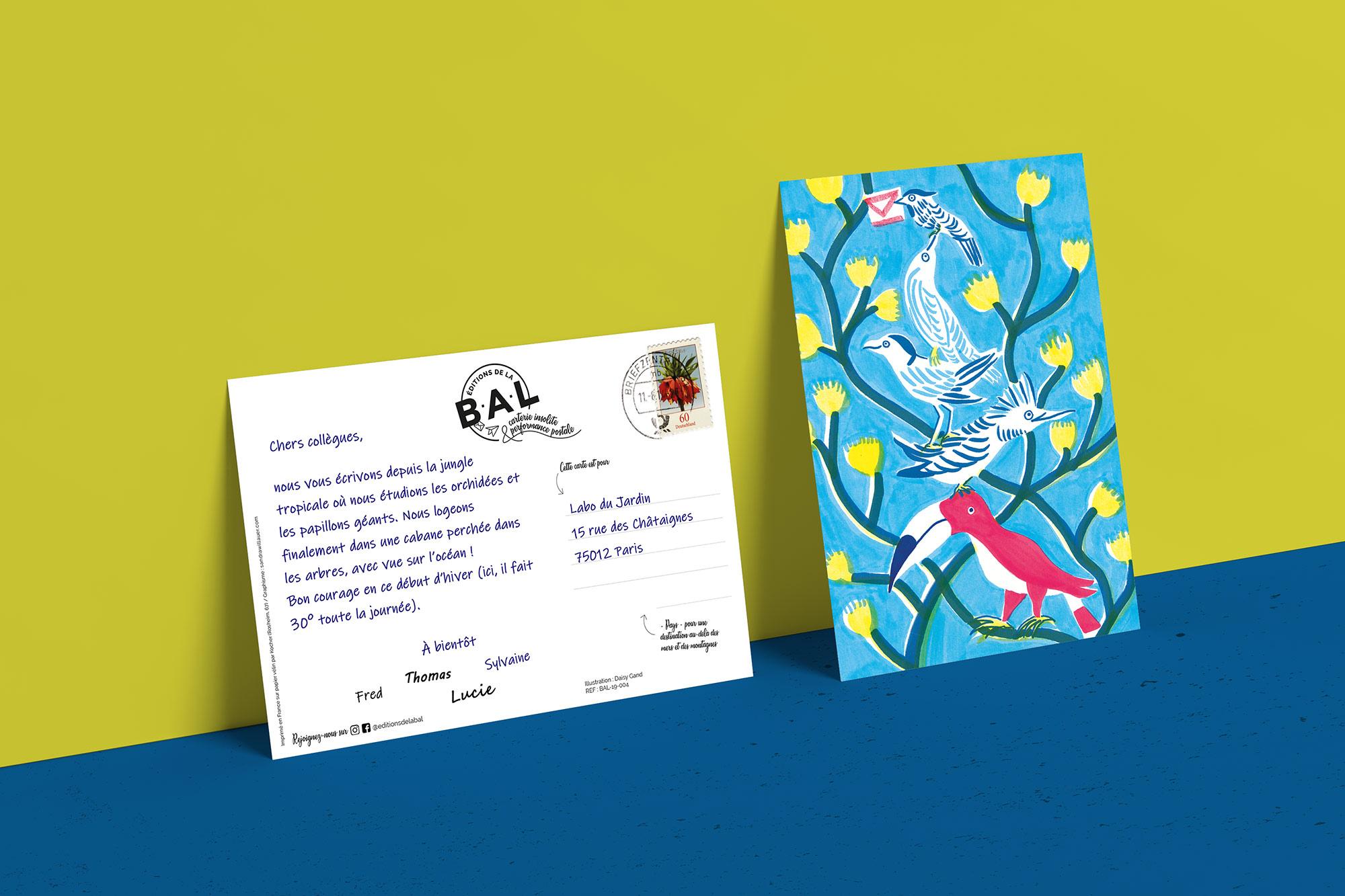 Une carte postale timbrée des éditions de la BAL