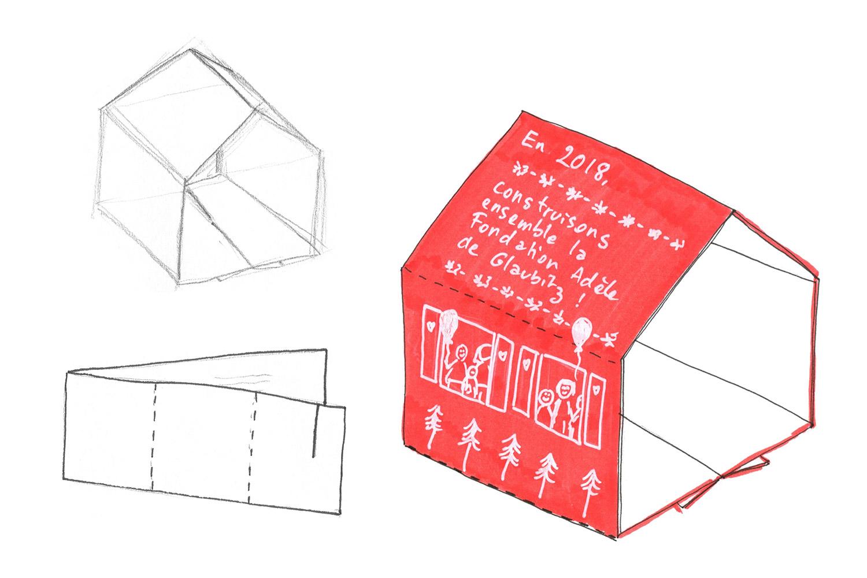 Croquis de la future carte en papier à plier