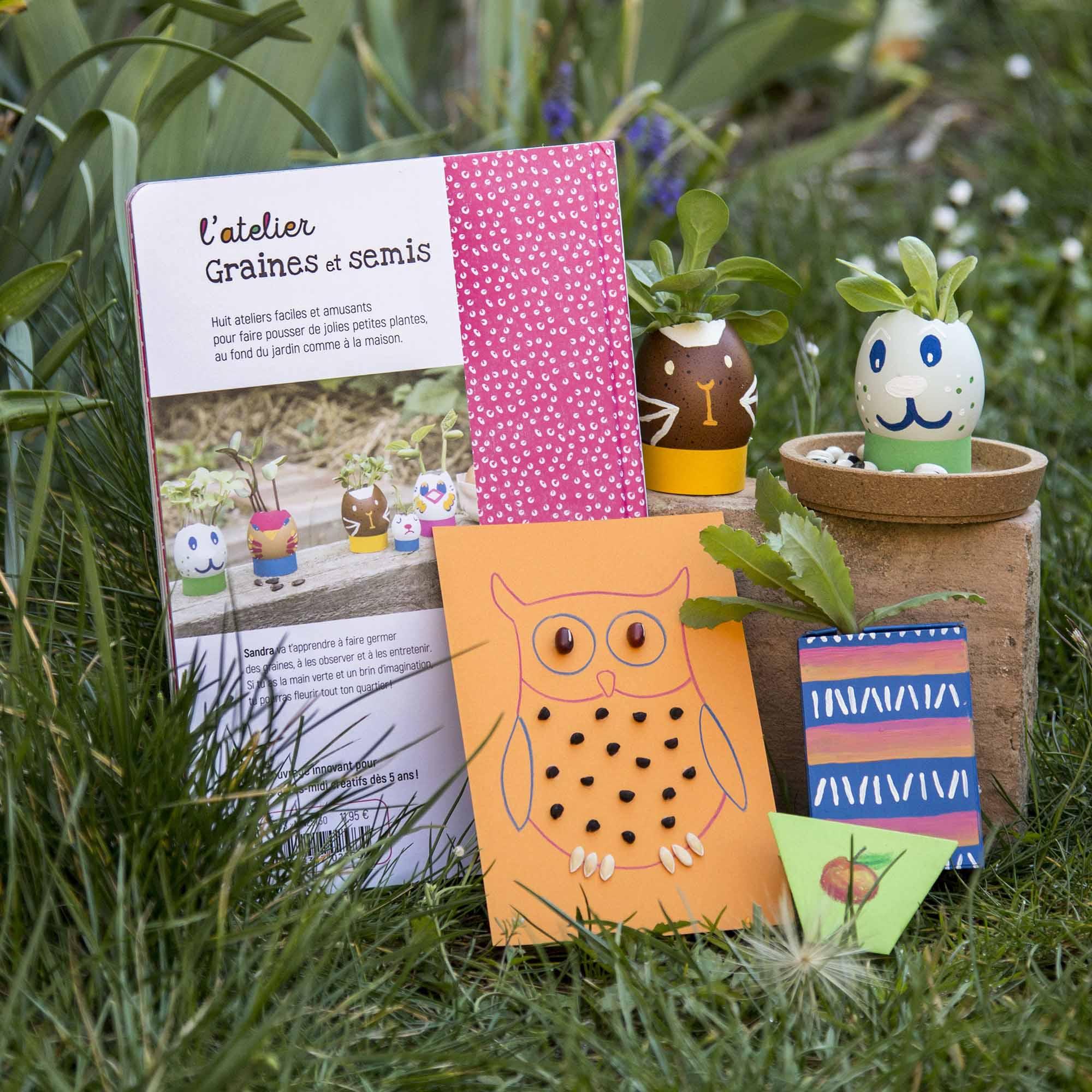 Aperçu de la 4e de couverture du livre jeunesse L'atelier Graines et semis, parmi les plantes du jardin et les exemples de bricolages créatifs