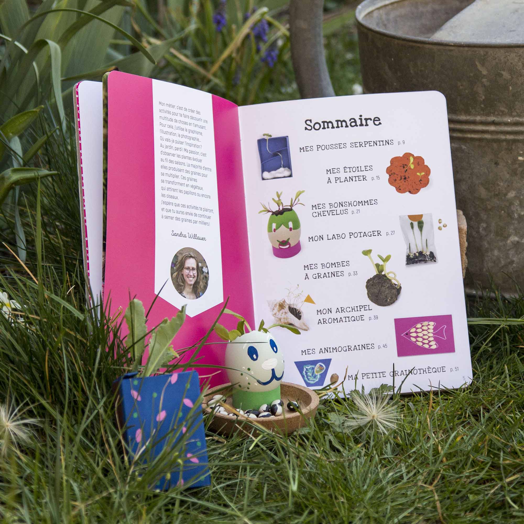 Aperçu du sommaire du livre l'atelier Graines et semis, ouvert au jardin, avec des exemples de réalisations