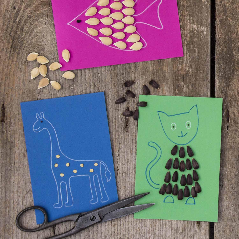 Dessins d'animaux réalisés avec des graines collées sur du papier coloré : girafe, chat et poisson